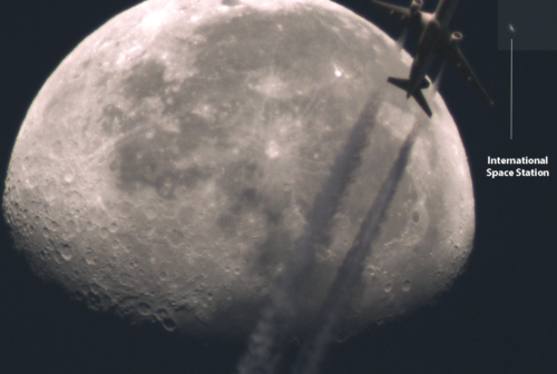 ISS (and airplane) lunar transit - testing new scope