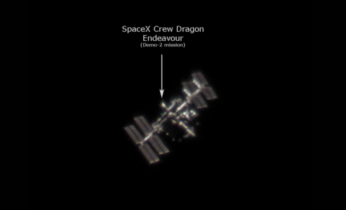 SpaceX Crew Dragon Endeavour docked to the International Space Station (Demo-2 mission) photo (1st imaging session)