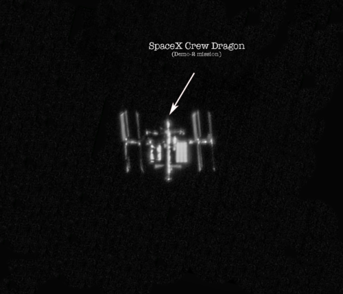 SpaceX Crew Dragon Endeavour docked to the International Space Station (Demo-2 mission) stacked image (3rd imaging session)